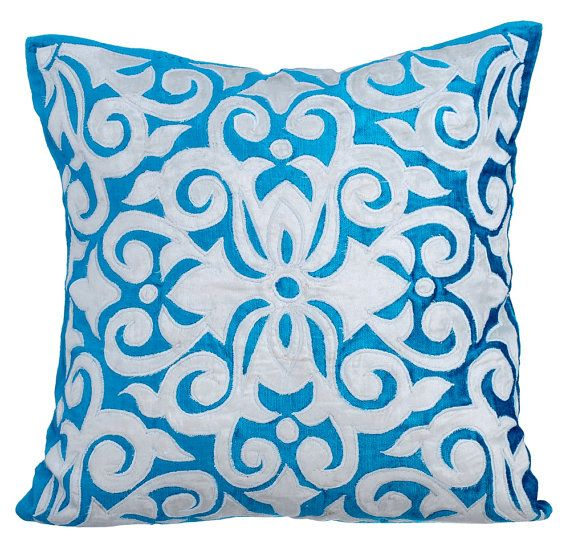 16 X16 Decorative Blue Couch Cushion Velvet Throw Pillow Cover Moroccan Cushion Pillow Abstract Pattern Modern Style Moroccan Tile Throw Pillows Pillows Toss Pillows