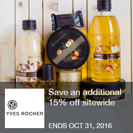 Yves Rocher Coupon - 15% Off  Save an additional 15% off sitewide. Use coupon code at checkout. End date October 30, 2016.  Brought to you by http://www.imin.com and http://www.imin.com/store-coupons/yves-rocher