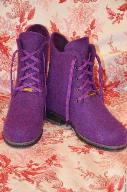Обувь ручной работы. Ярмарка Мастеров - ручная работа. Купить Ботинки  женские Виолетта. Handmade. Фиолетовый, валенки на подошве, подошва 3b3b8ed47aa