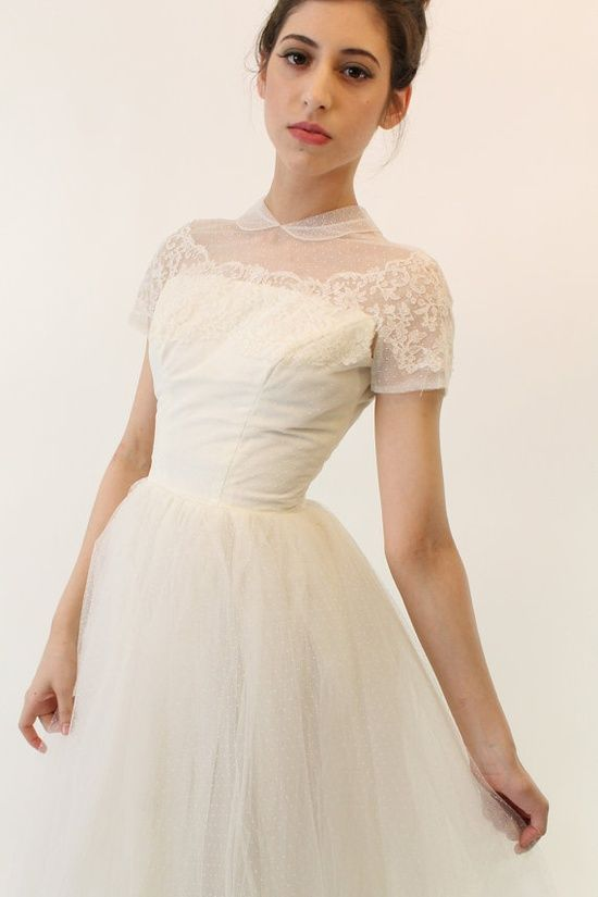 Love this swiss dot and dainty peterpan collar wedding dress. | Our ...
