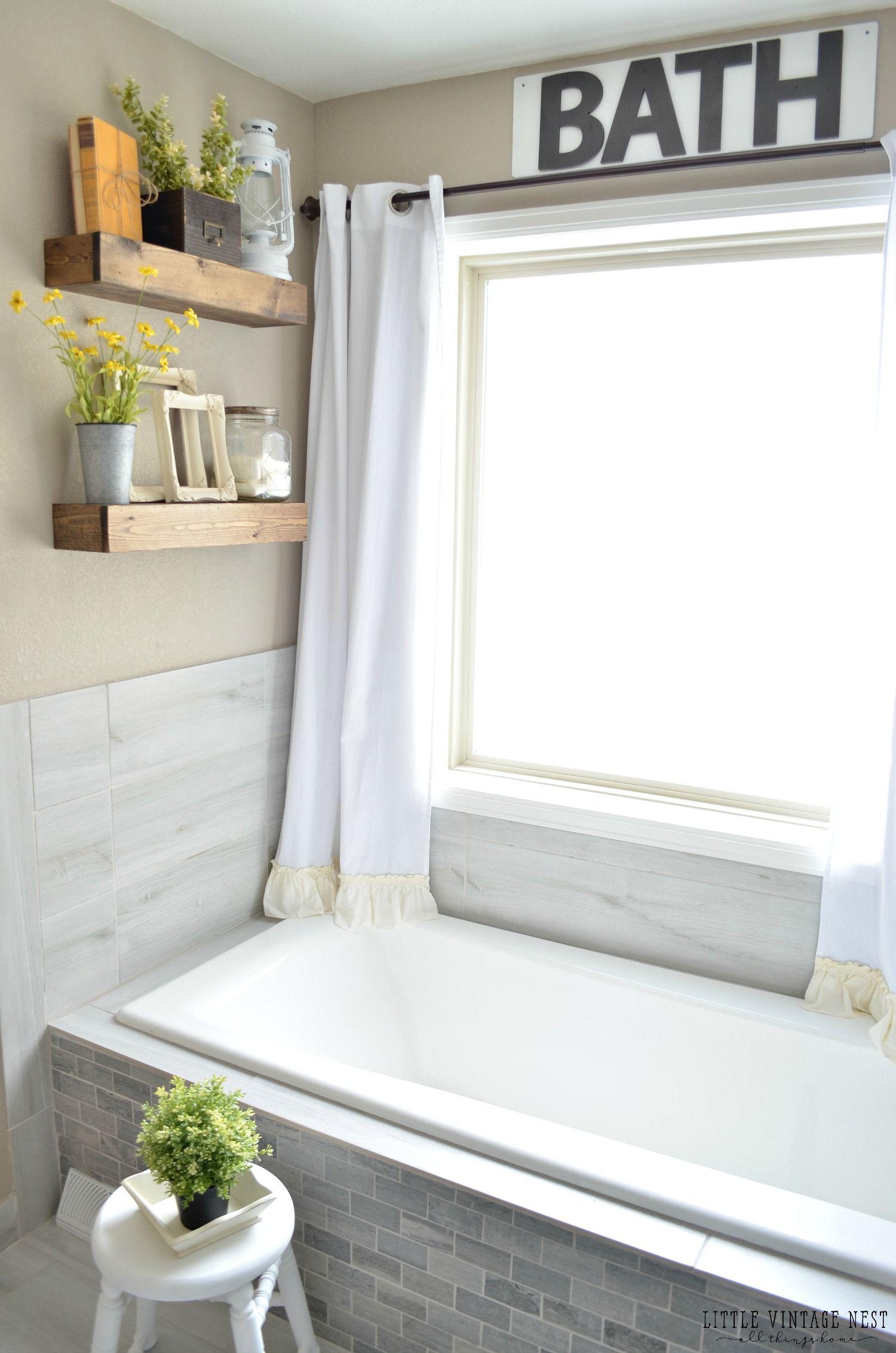 farmhouse master bathroom reveal bathing beauty bathroom rh pinterest com how to decorate a bathroom window sill how do you decorate a bathroom window