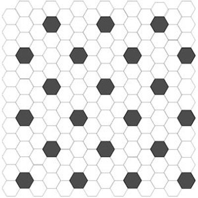 American Olean Satinglo Hexagon Mosaic Black/white 8401