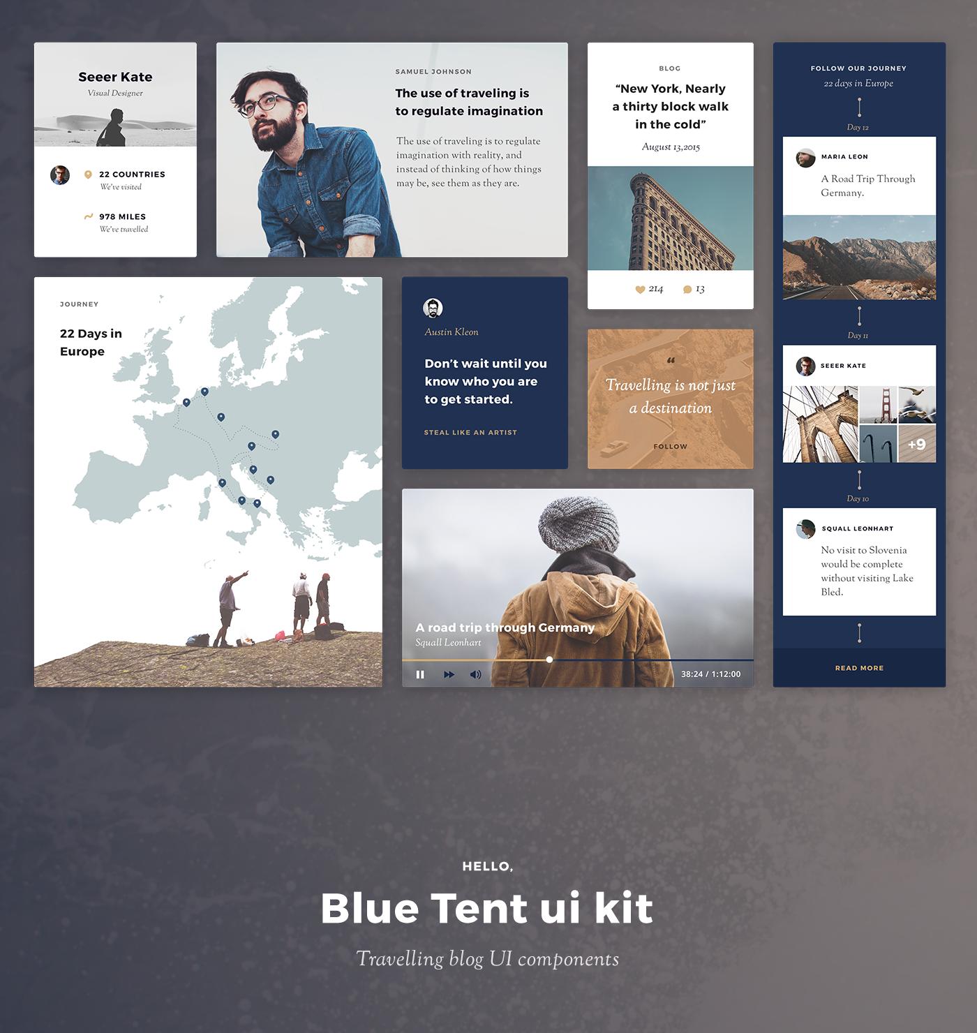 Blue Tent ui kit | Travel blog UI components on Behance