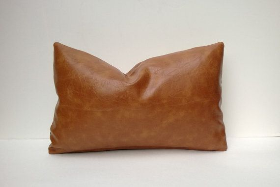 Caramel Brown Faux Leather Decorative Pillow Cover ...