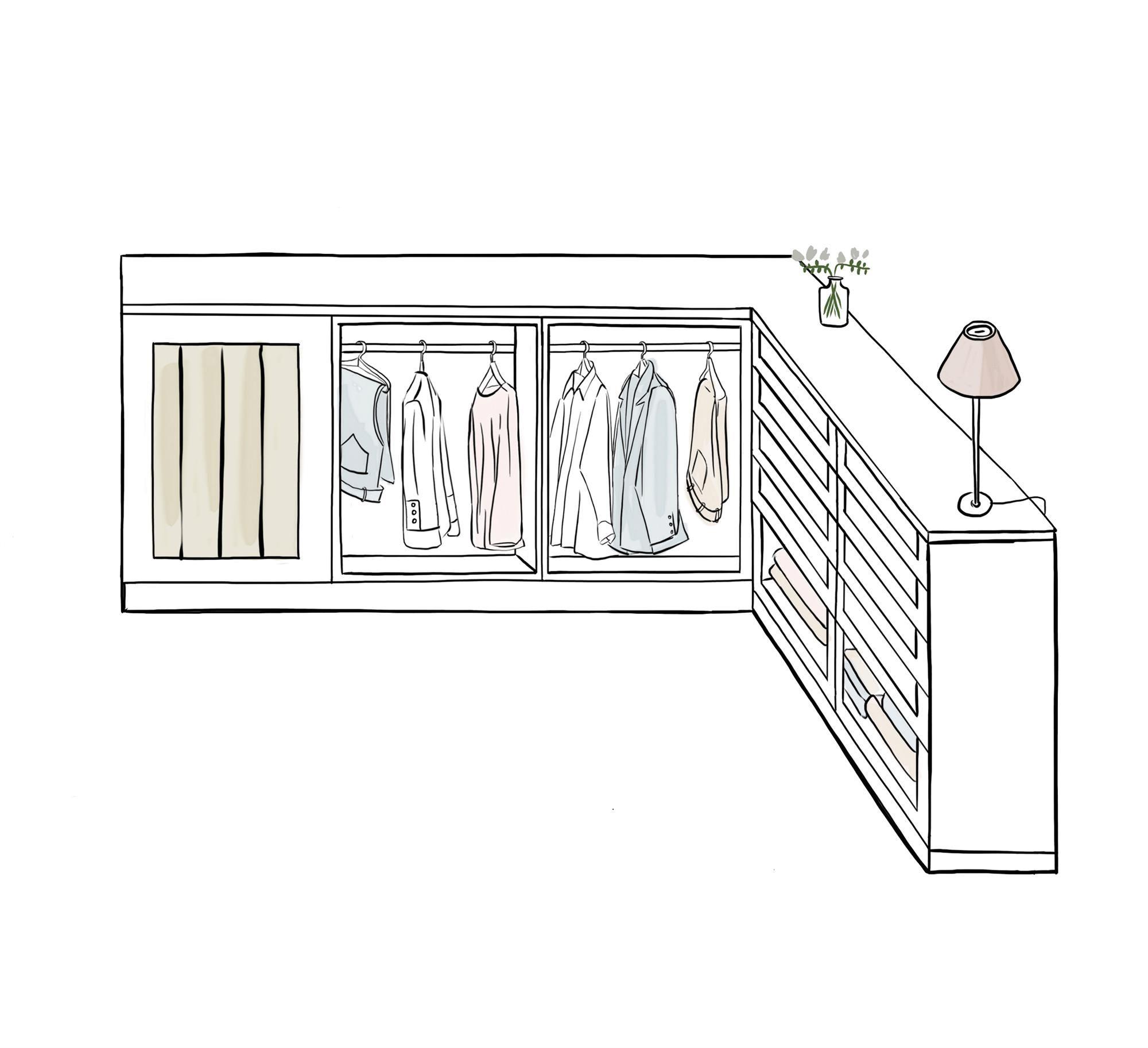 Armario 5 Color Ilustracion De Vestidor En Buhardilla Pequenas Habitaciones De Lavadero Armarios De Dormitorio Diseno De Armario