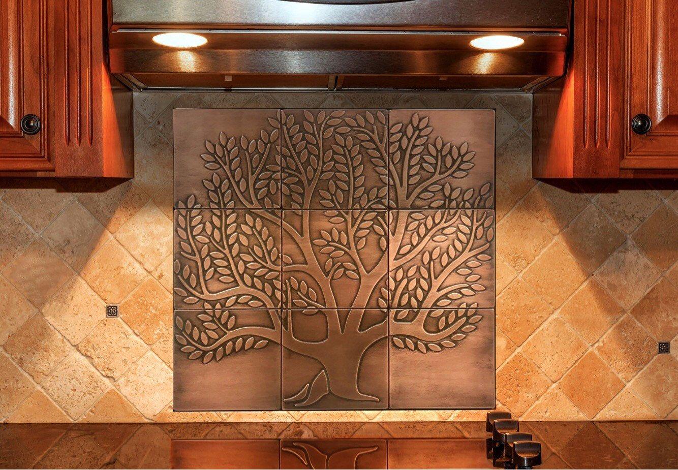 Tree Of Life 9 Handmade Copper Tiles Material 100 Etsy Copper Tiles Faux Tin Ceiling Tiles Copper Backsplash