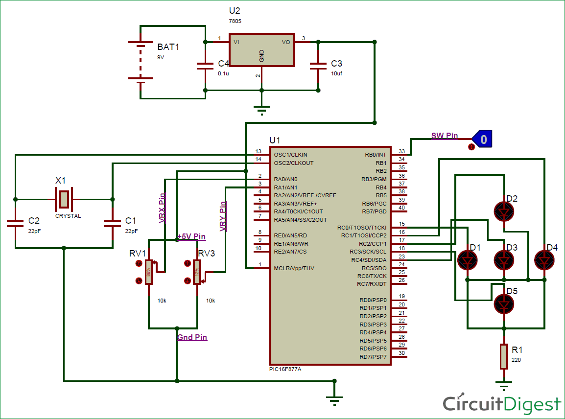 Circuit Diagram Of Joystick With Pic Micro Controller Electronic 7805
