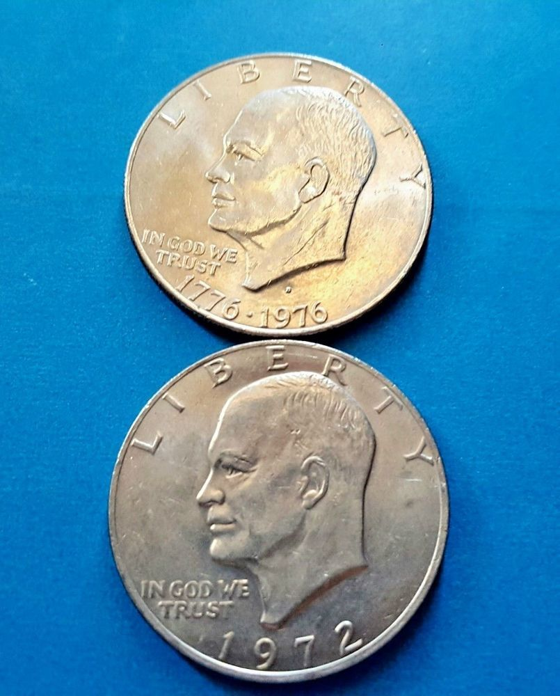 1976 1996 D 1972 Eisenhower Ike Silver Dollars Lot Of 2 Silver Dollar Coins Silver