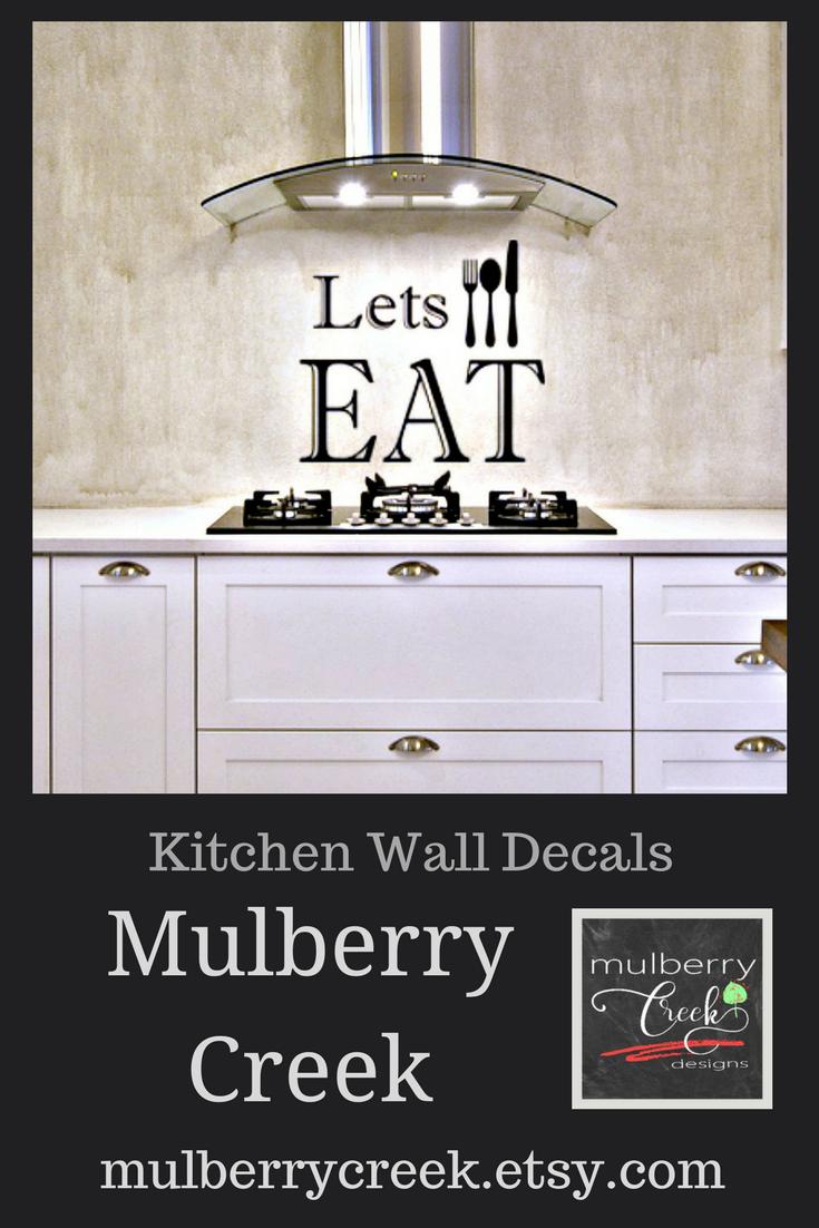 Kitchen Signage, Fun Kitchen Signs, Kitchen Wall Decals, Lets Eat ...