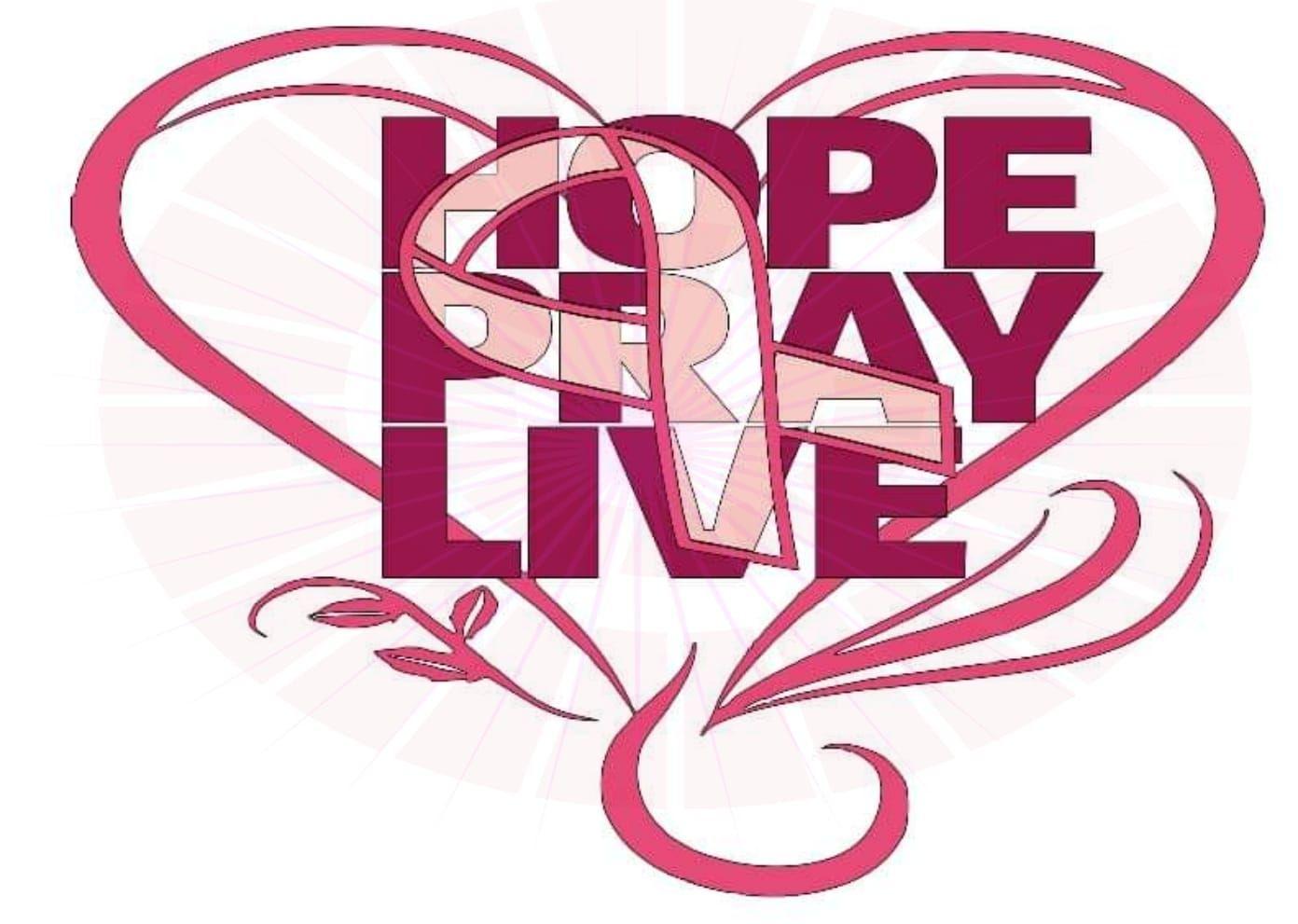 Hope pray live breast cancer awareness svg cricut pinterest
