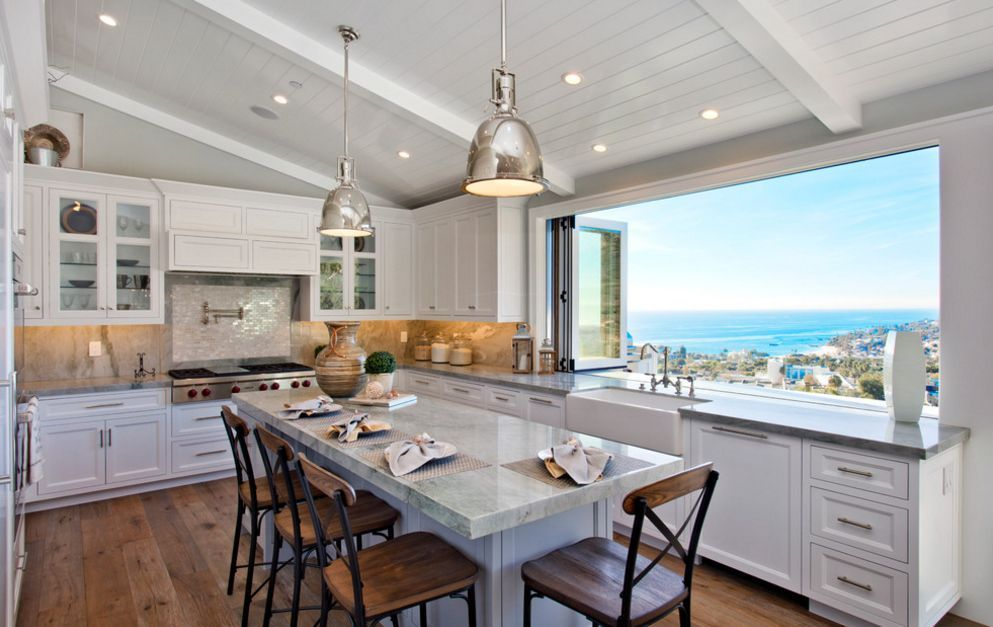 Accordion Windows For When You Want To Get In Touch With Nature Modern Kitchen Design Modern Large Kitchens Custom Kitchen Cabinets