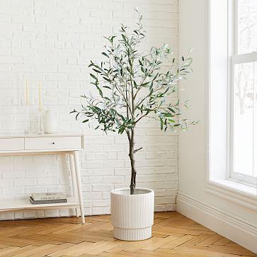 Faux Olive Tree Large White Fluted Planter Set In 2020 Faux Olive Tree Olive Tree Indoor Trees