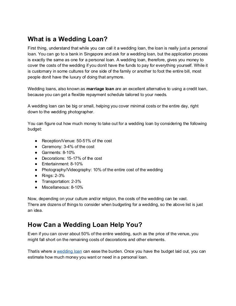 Wedding Loan Application In Singapore