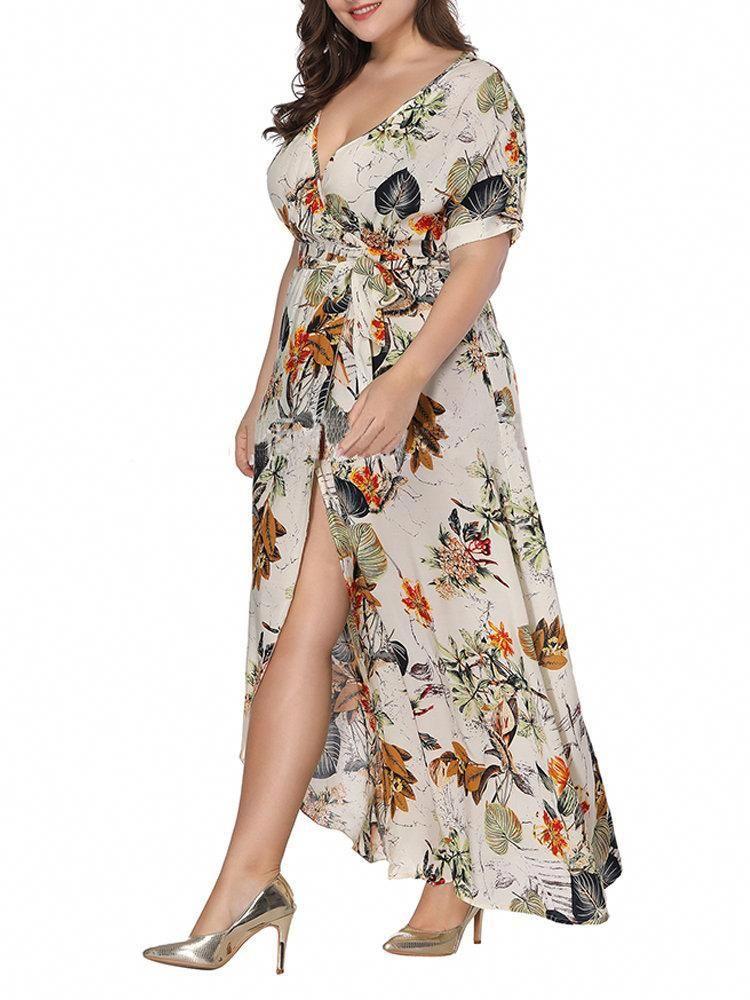 2b8bd0970d140 Boho Split Empire Waist V-neck Maxi Dresses #maxidresses   Maxi ...