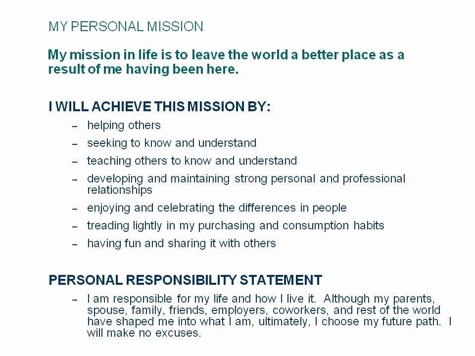 Personal Mission Statement Template Inspirational the
