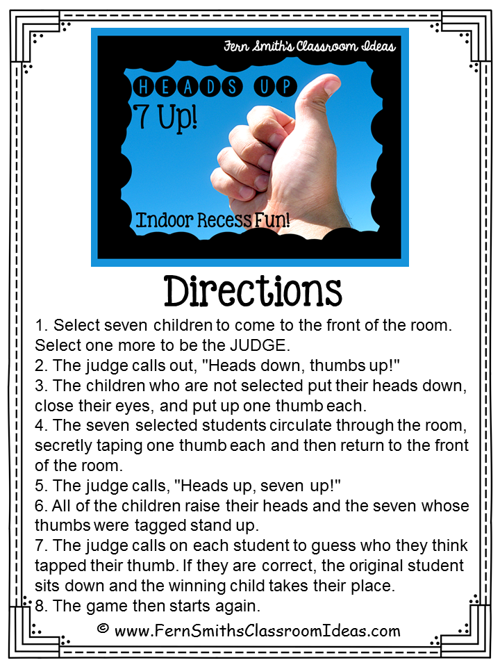 Indoor Recess ~ Heads Up 7-Up Directions | Most fun games ...
