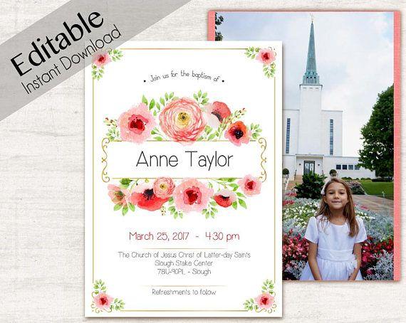 baptism invitation girl editable pdf girl invitation coral
