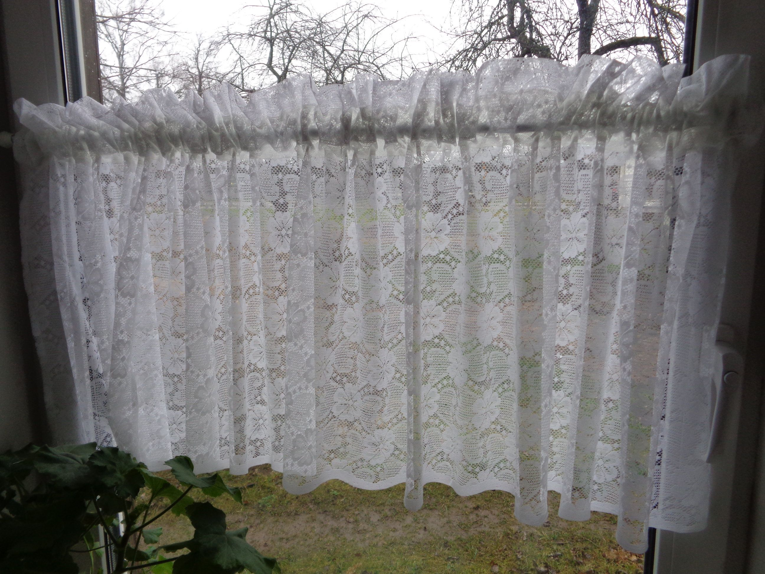 lace Curtain sheer STYLE VINTAGEhandmade white old linen 140 x 90