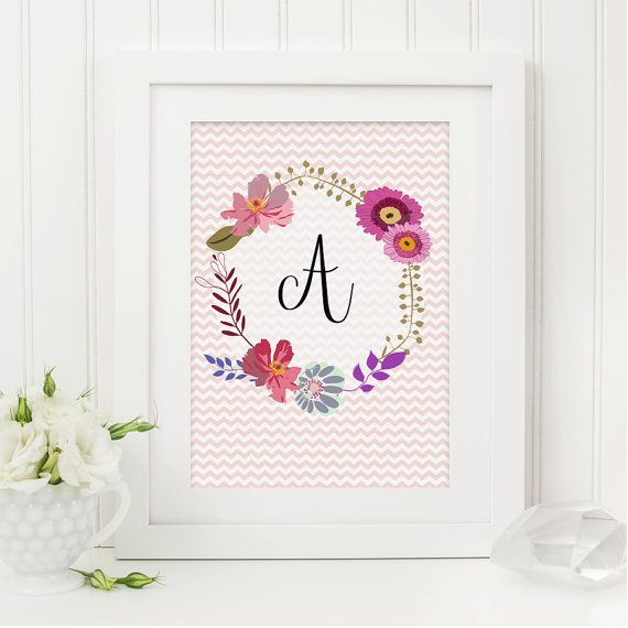 Floral Monogram Letter Print, Chevron Background, Personalised Print, Typography Art for the Home