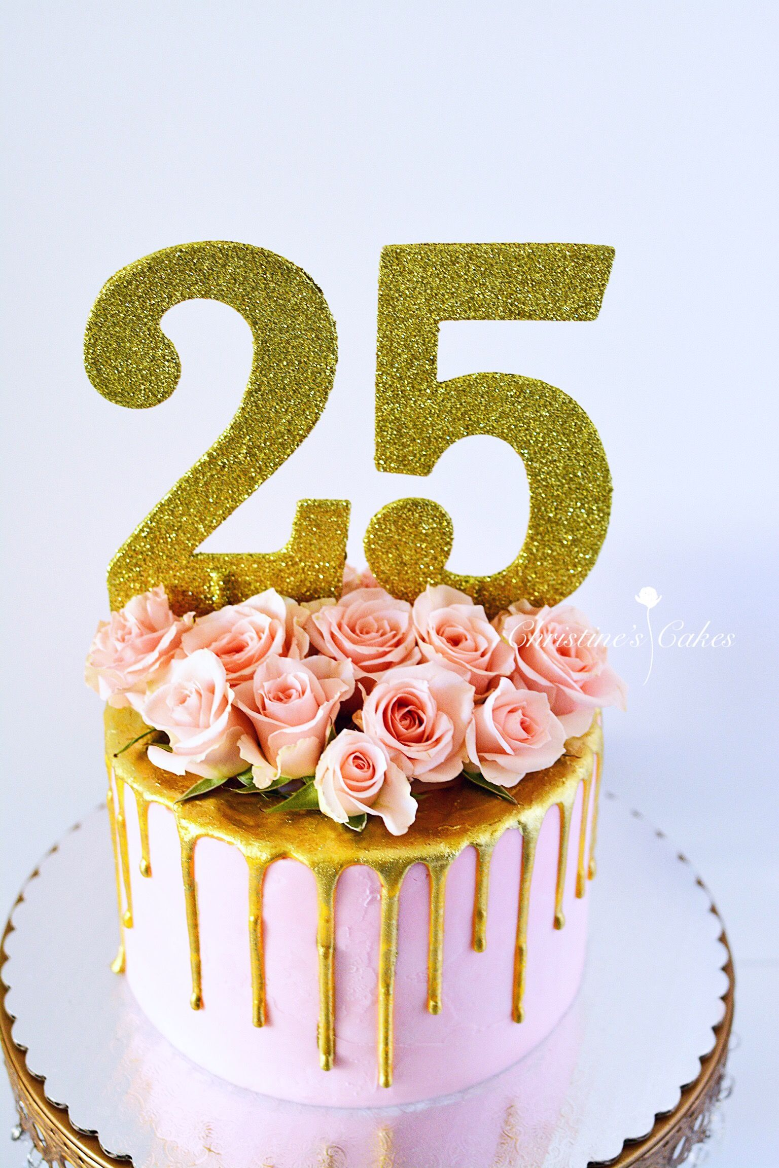 Enjoyable 25Th Birthday Birthday Cake Pink Spray Roses Floral Cake Gold Funny Birthday Cards Online Alyptdamsfinfo