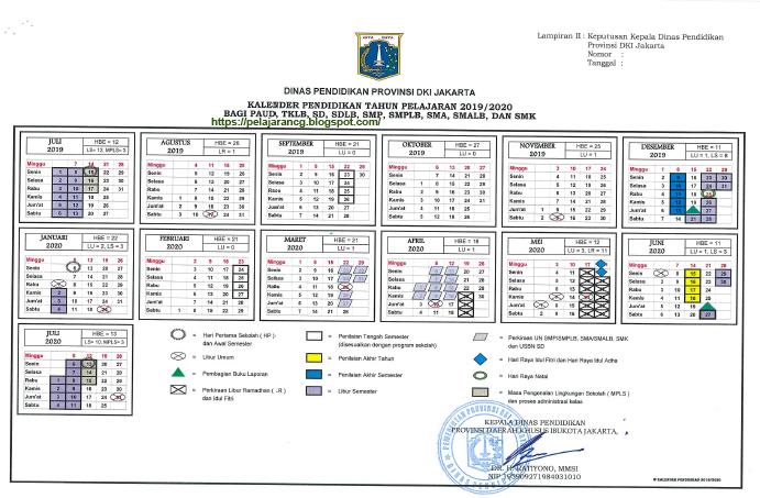Kalender Pendidikan Tahun Ajaran 2019 2020 Dki Jakarta Kurikulum Pelajaran Pendidikan Smp Kalender