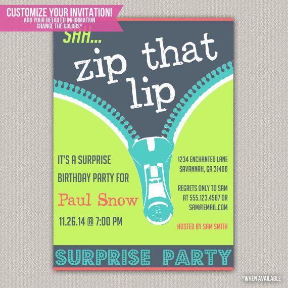 Zip That Lip Surprise Party Invitation Surprise Party Birthday