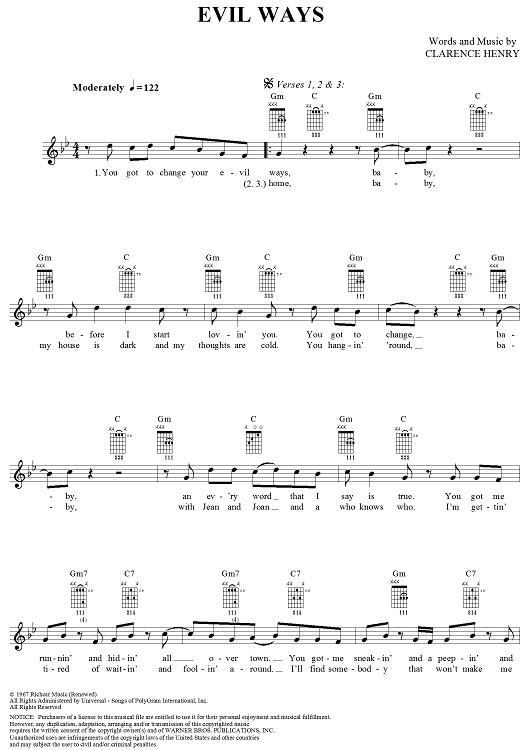Evil Ways Sheet Music by Carlos Santana | Sheet music, Easy guitar ...