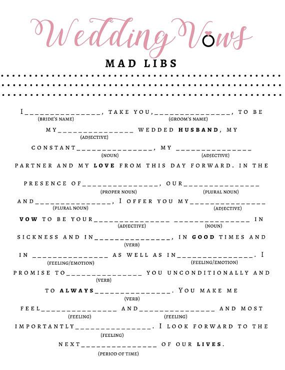 bridal shower game wedding vow mad libs