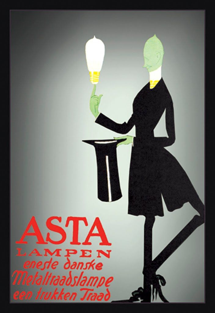 Asta Lampen - Eneste Danske Metaltraadslampe Een Trukken Traad, by Valdemar Andersen