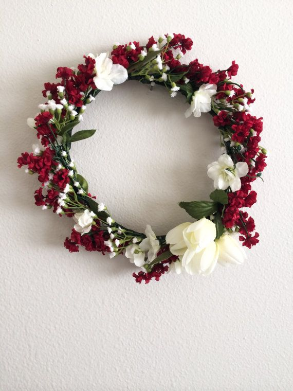Red Flower Crown with White Accents | flower crowns | Pinterest ...