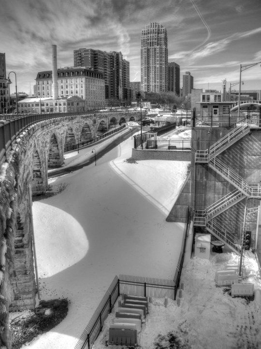 Different winter view from the Stone Arch Bridge downtown Minneapolis, MN