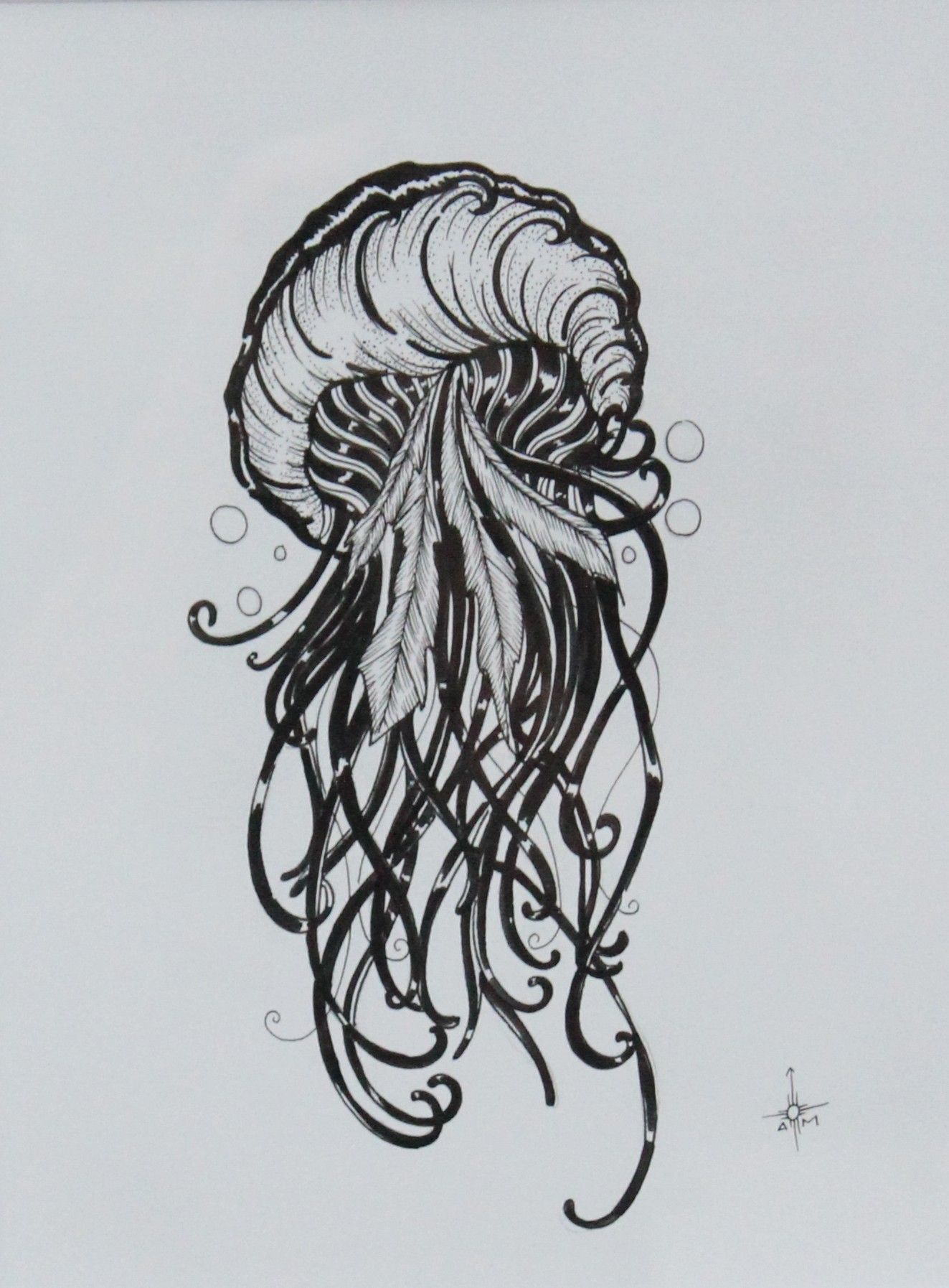 This is an image of Shocking Jellyfish Ink Drawing