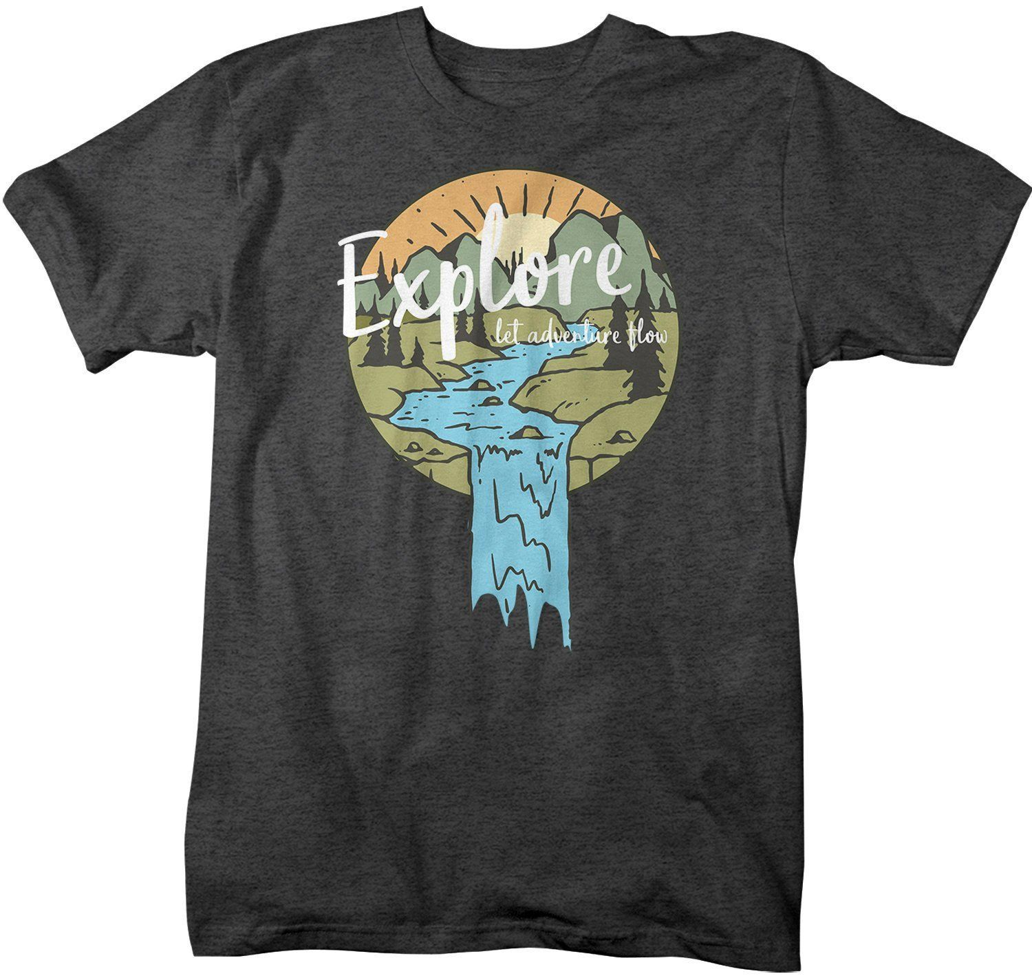 Men's Explore T-Shirt Let Adventure Flow Shirt Wanderlust Tshirt Camping Shirts Illustration Shirt Nature Shirts – Products