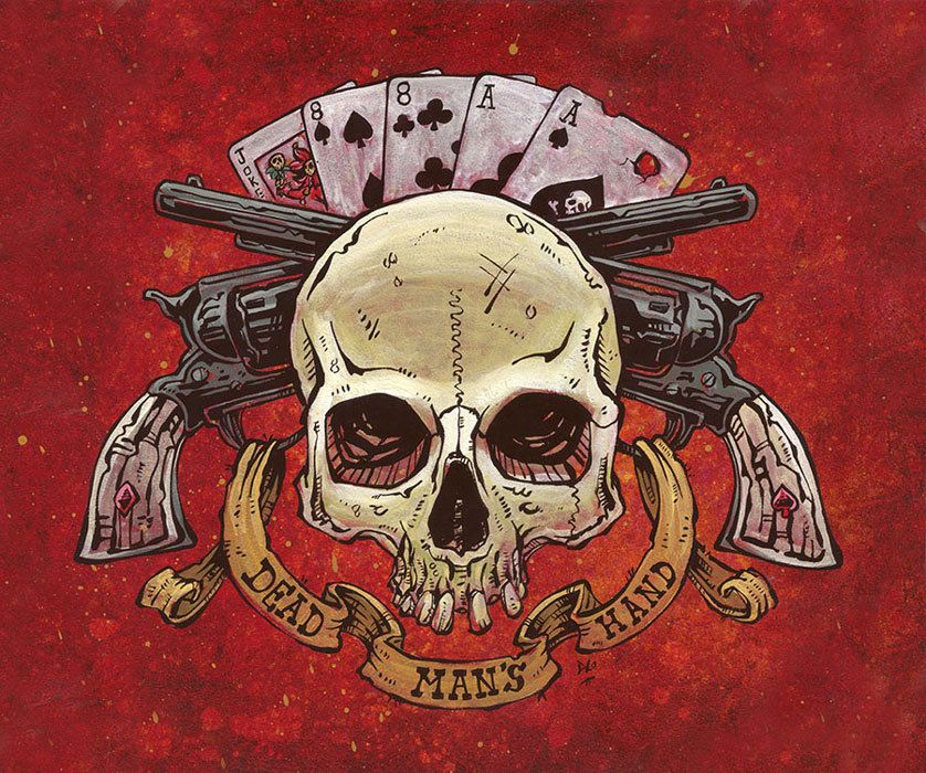 Dead Mans Hand By David Lozeau Tattoo Canvas Giclee Skull Wild West