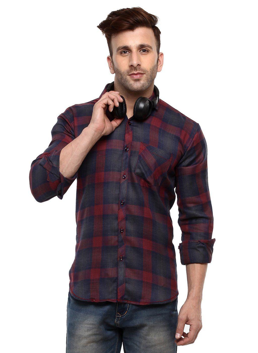 Buy hangup dark blue men shirt online at low prices in