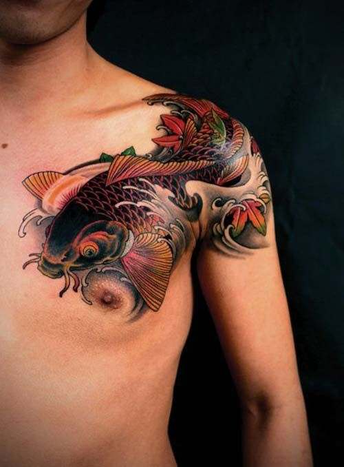 Shoulder And Chest Koi Fish Tattoos Koi Balığı Dövmeleri