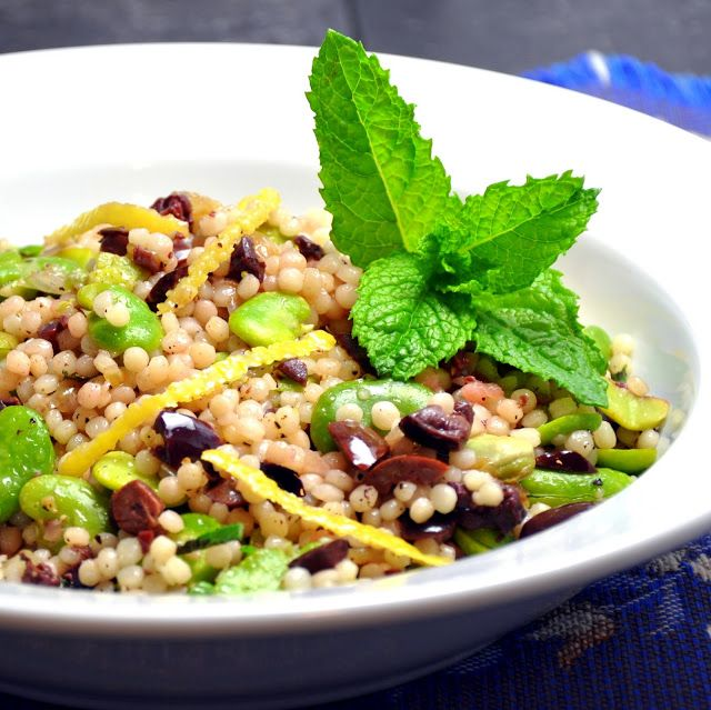 Warm Fava Shallot Couscous - Pinch and Swirl