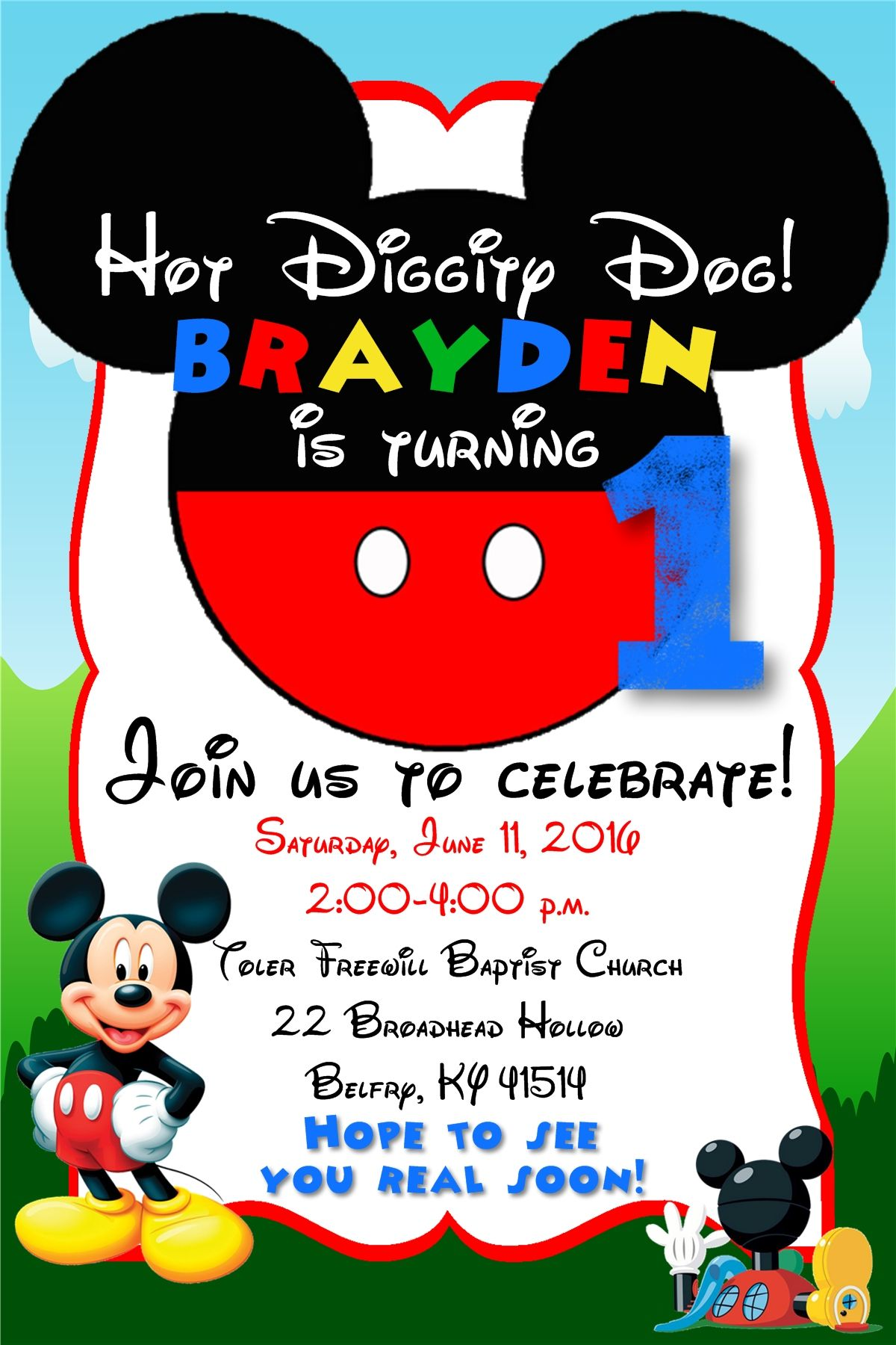 4x6 Mickey Mouse Clubhouse Birthday Invitation