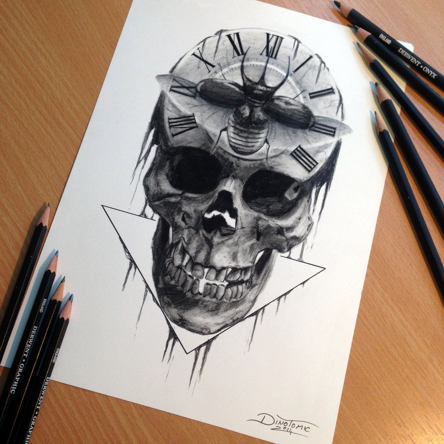 Skull Pencil Drawing Playing around with some random