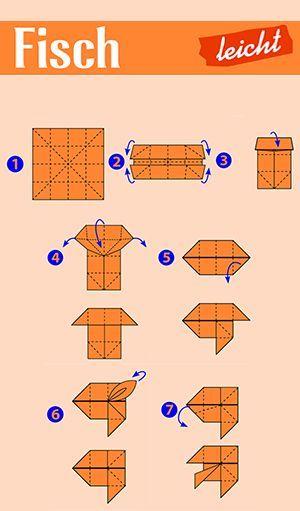Falten mit Papier: Origami: Faltet einen Fisch #origamianleitungen