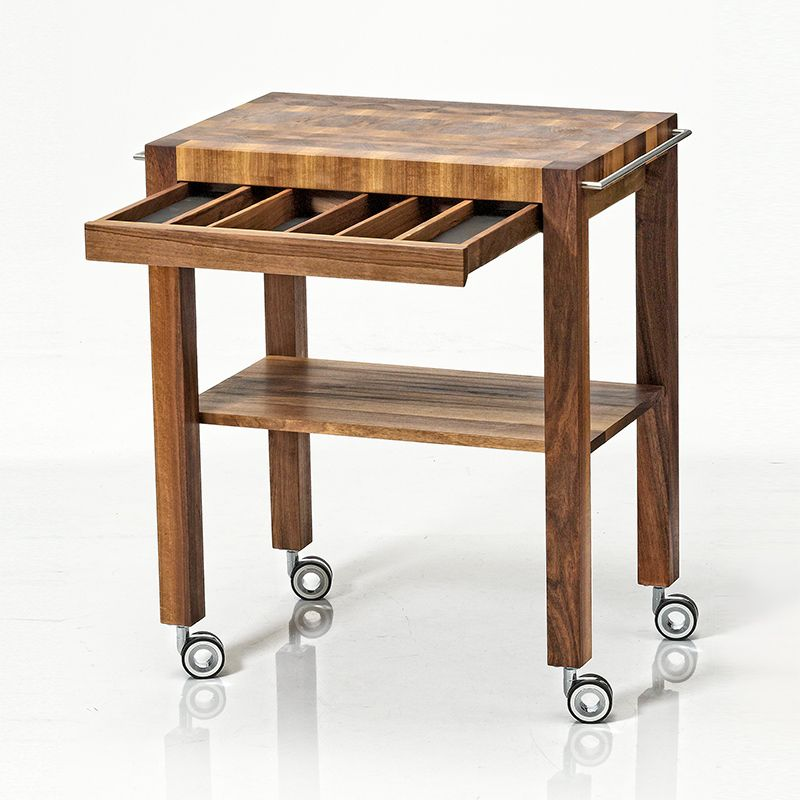 Kitchen Trolley Interior: Distinctive Kitchen Trolley With Solid End-grain Working