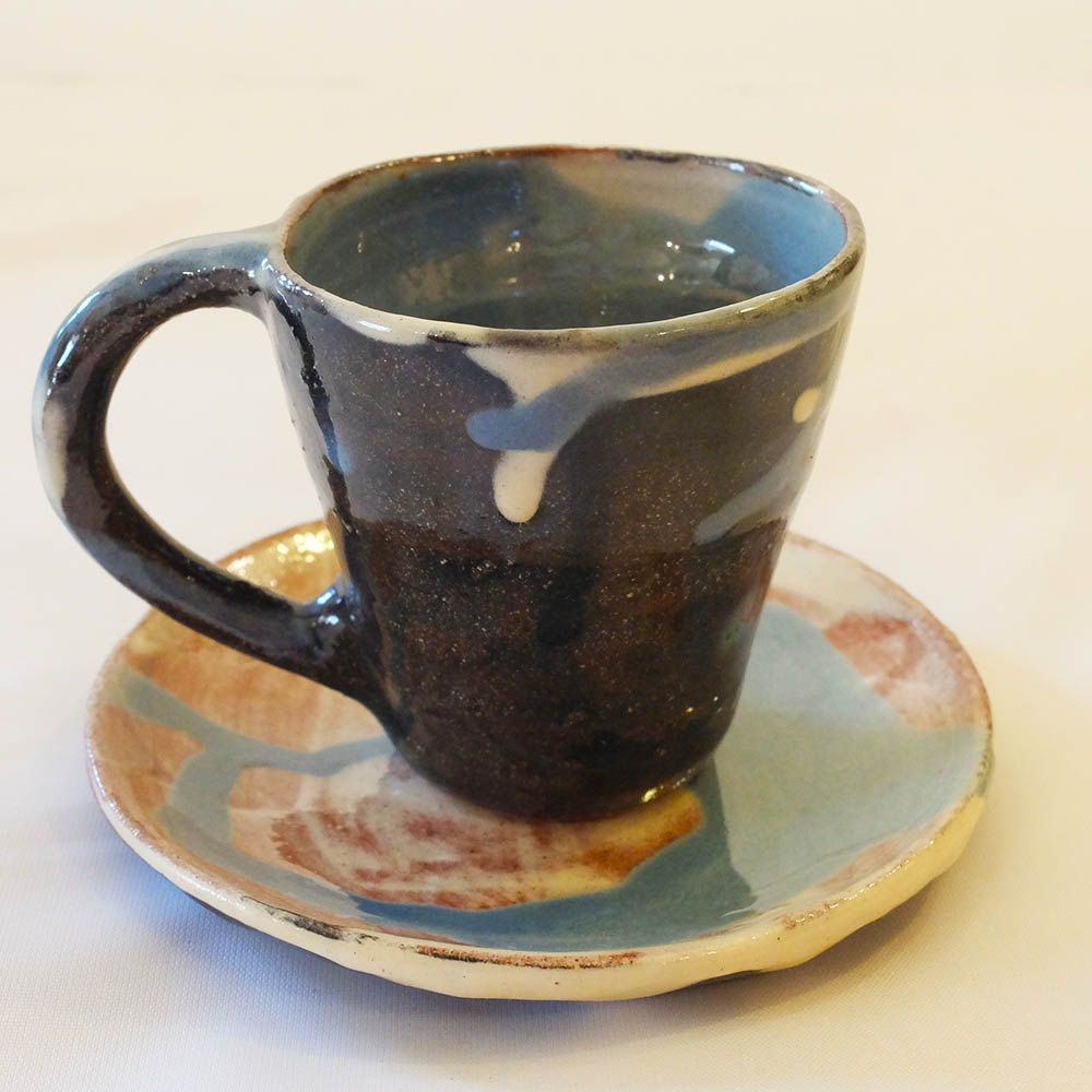 Blue Ceramic Espresso Cup and Saucer. Handmade Modern Espresso Cup, Coffee Lover, Coffee Mug, Ceramic Cup, Gift by ThomasMorleyCeramics on Etsy