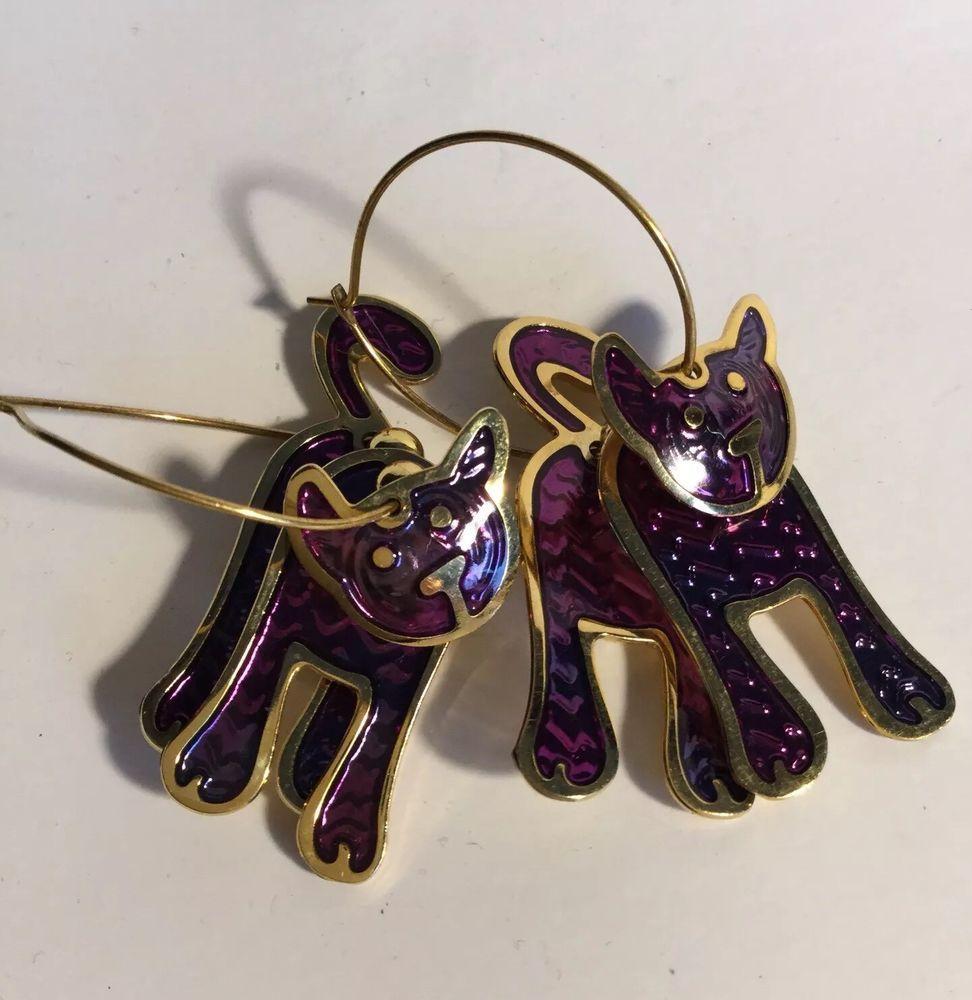 Edgar Berebi Purple Enamel Cat Earrings Hoop Dangling Layered Sectional Cats