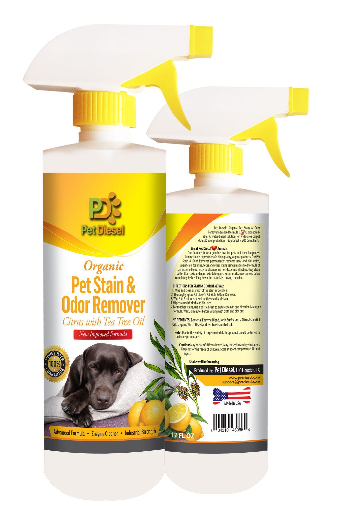 Organic Pet Stain & Odor Remover Citrus Spray By Pet
