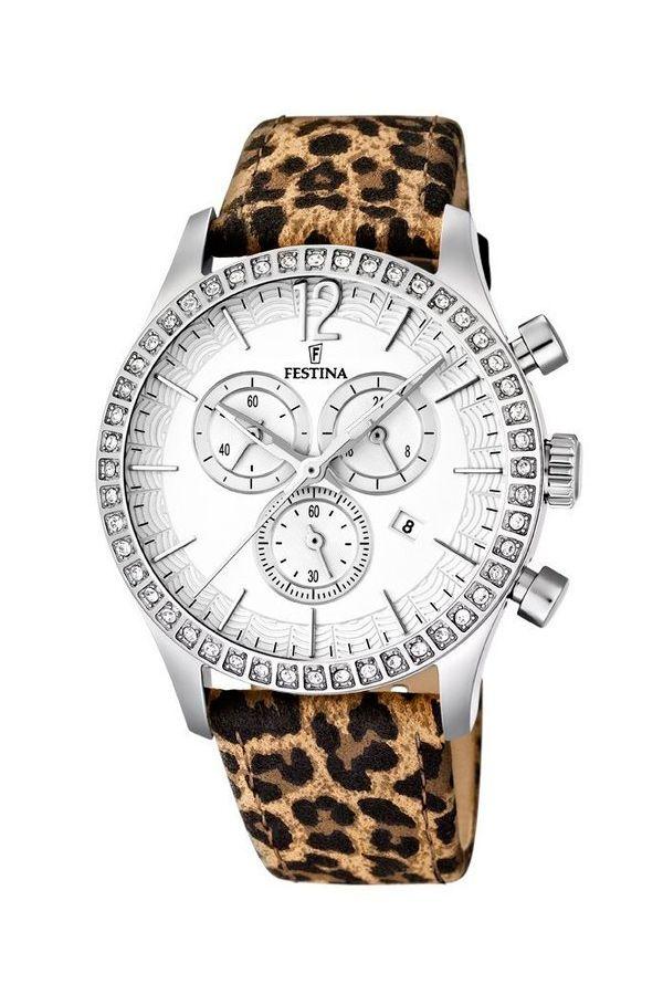 Reloj Festina de mujer cronógrafo, con correa de leopardo; ref. F16590-5