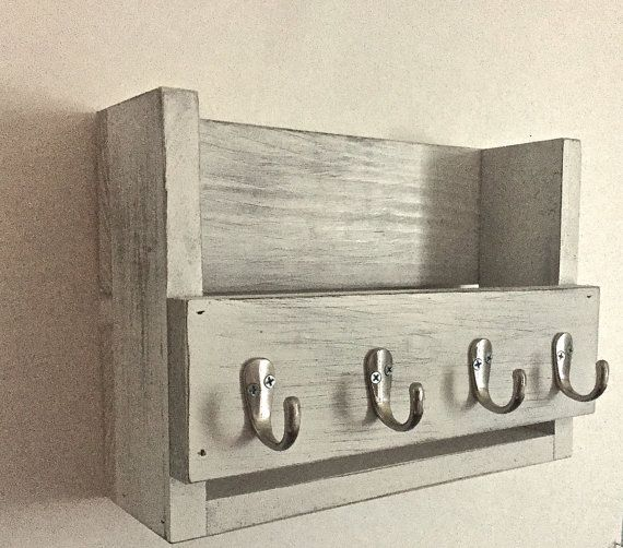 Rustic Key Holder Mail Organizer White By Thewoodenowl