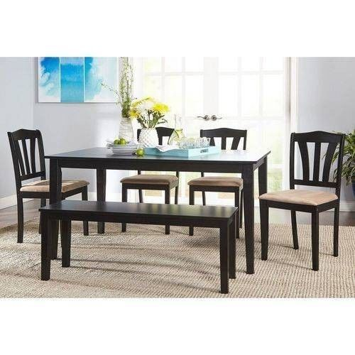 6 Piece Wooden Dinette Table Set 4 Dining Chairs Kitchen Bench Traditional  Black