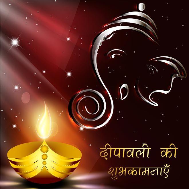 Beautiful Deepawali Diya With Ganesha On Happy Diwali Free Vector Template Happy Diwali Wallpapers Happy Diwali Happy Diwali Images