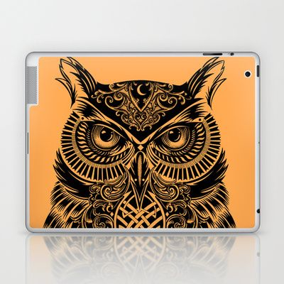 Warrior Owl 2 Laptop & iPad Skin by Rachel Caldwell - $25.00