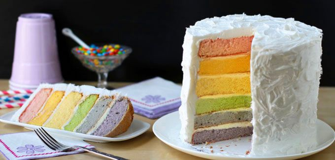 Rainbow Layer Cake with Natural Food Coloring | Recipe | Rainbow ...